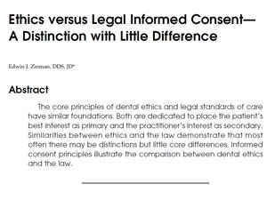 Ethics versus Legal Informed Consent— A Distinction with  Little Difference